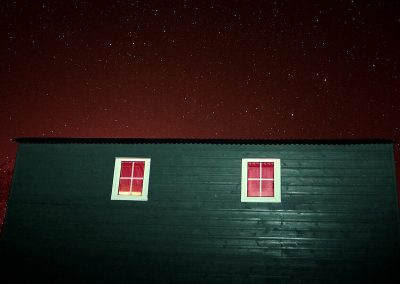 A starry sky over the hut. The Northern Lights are visible from our area too.